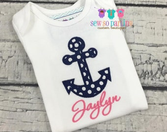 Baby Girl Anchor outfit - Hot pink and navy Nautical outfit - Baby Girl Clothes - Girl Nautical Shirt
