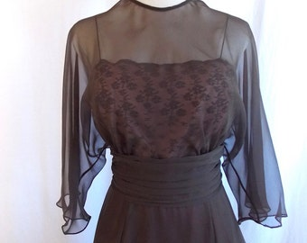 1970's Miss Elliette Chocolate Brown Chiffon Evening Gown