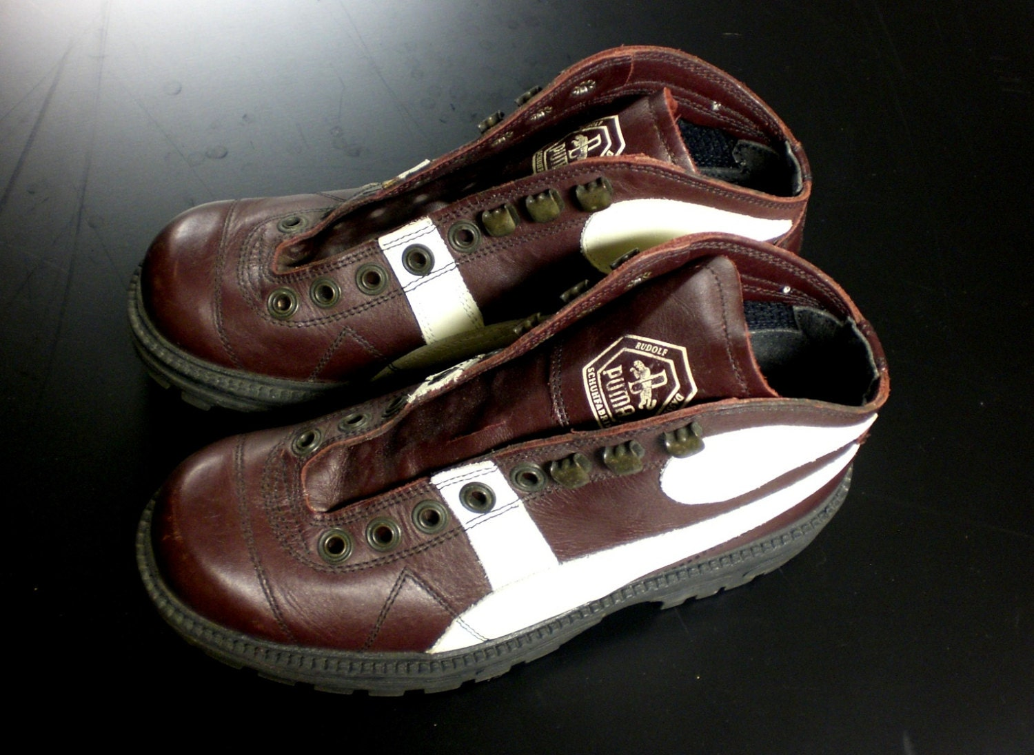 vtg brown leather shoes high top hiking boots small