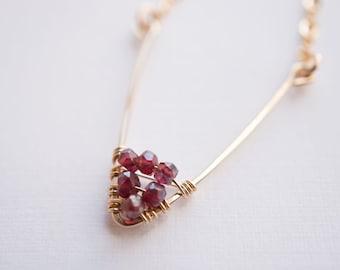 garnet ravine / gold chevron gemstone necklace