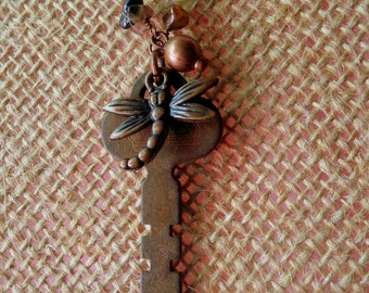 Copper Key & Dragonfly Autumn Charm Necklace