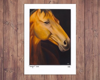 Horse Art Print from Original Painting, Matted to fit 5x7 Frame
