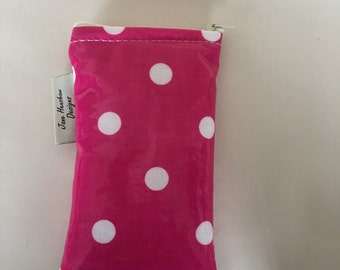 iPhone 6s cover case In bright pink and white spotty oilcloth