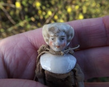 Doll, Miniature, Antique, German, Porcelain and Cloth Jointed Doll, Shoulder and Limb Doll, Collectors, Dolls House, Original Clothes
