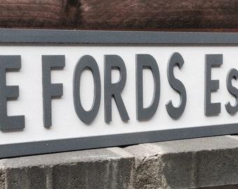 Personalised freestanding vintage street sign for weddings