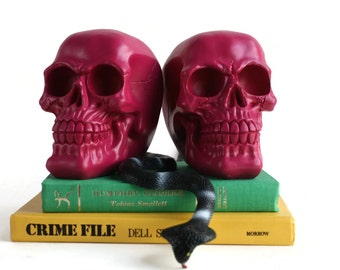 Raspberry Skull Bookends - Bookend Set - Halloween Decor - Bedroom Decor - Skull Home Decor - Skull Office Decor - Gift under 40 - Christmas
