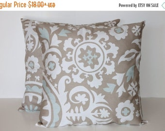 Toss Pillow Cover (2) - Gray and Blue Pillow Covers for Couch 0022