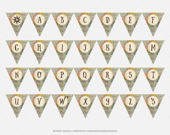 Instant Download / A - Z / Traveler Baby Shower Bunting Banner - Alphabet Bunting  / DIY Printable - Adventure Awaits, The Adventure Begins