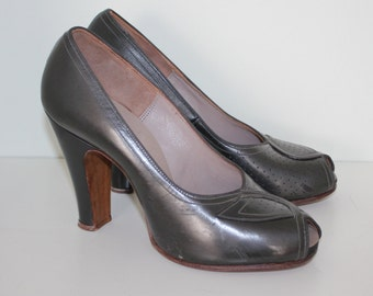 Vintage original 1940s 40s 1950s 50s peep toe gunmetal grey peep toes shoes UK 3 US 5 EU 36