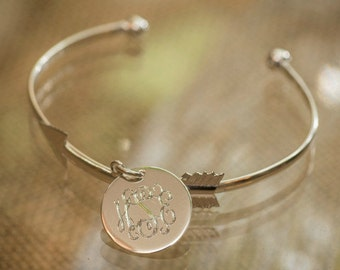 Engraved Arrow Bangle Bracelet