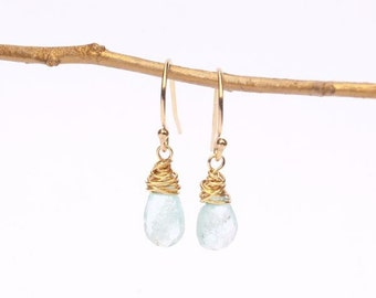 Aquamarine Earrings . Aquamarine Drops Earrings. White Gemstone Earrings. White Dangled Earrings. Mermaid's Treasure Earrings