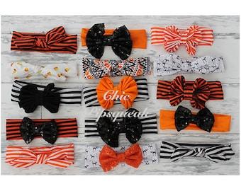 Halloween Top Knot, Halloween Floppy Bow Headband, Halloween Headband, Halloween Headwrap, Halloween Baby Headwrap, Halloween, Big B