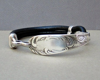 Silver Fork Bracelet, Spoon Bracelet, Leather Bracelet, Eco Friendly, customized to your wrist