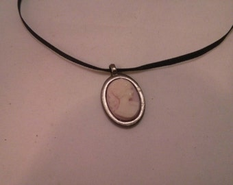 Victorian Style Black satin ribbon with Silver Color Metal Cameo pendant Necklace