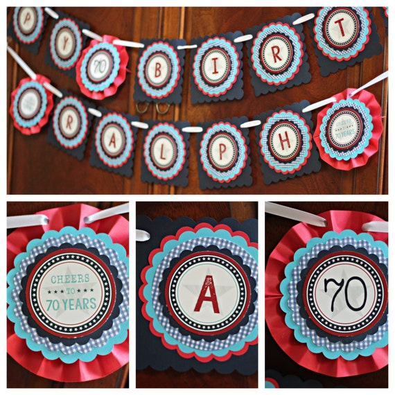 Patriotic Happy Birthday Banner. Red / By CharmingTouchParties