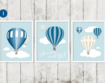 Hot Air Balloon Print, Oh The Places You'll Go, Vintage Hot Air Balloon Print, Vintage Nursery, Toddler Bedroom Decor, Baby Boy Decor