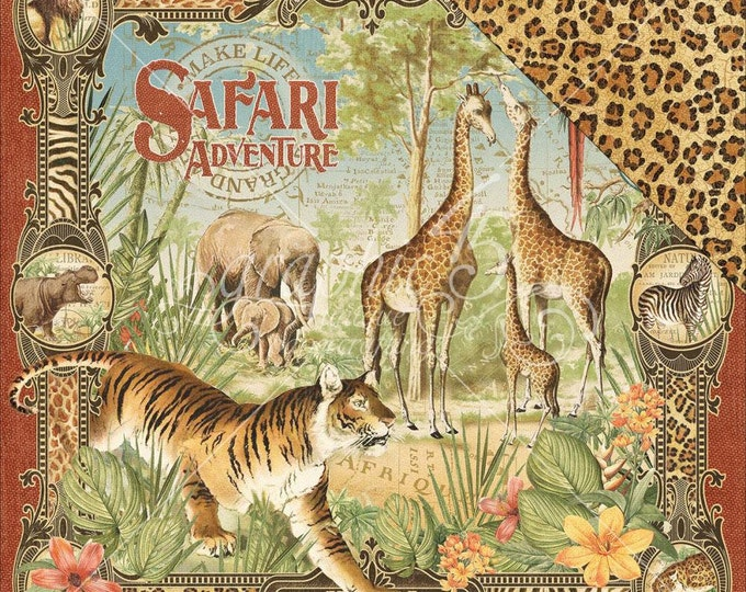 2 Sheets of SAFARI ADVENTURE Scrapbook Paper by Graphic 45 - Safari Adventure