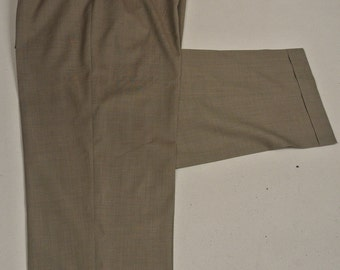Zanella Solid Tan Worsted Wool Dress Pleat Trousers Men's Waist Size: 37x29