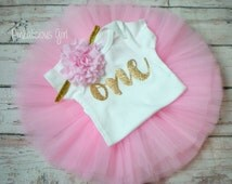 First Birthday Outfit Girl- Pink and Gold First Birthday Outfit- Pink and Gold First Birthday Tutu- Pink Gold 1st Birthday Tutu Outfit