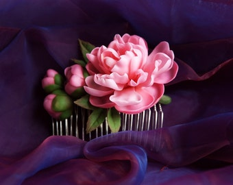 Flower Hair Comb with pink peony