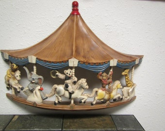 vintage  1979  MERRY-GO-ROUND  Carousel Plastic Wall Hanging . Universal Statuary Corp. Chicago