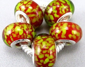 Lime Green Sprinkles on Red Murano Glass Bead Charm 925 Silver Fits Trollbeads Chamilia Biagi & All European Charm Bracelet Big hole bead