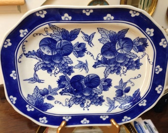 Vintage Blue Willow Blue and White Platter with Grapes and Flowers