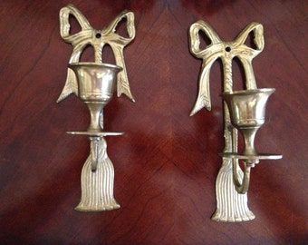 Set of 2 Vintage Brass Candleholders with Bows and Tassels