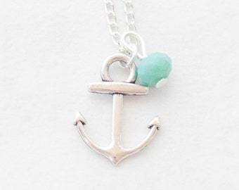 Little Anchor Necklace, Anchor Pendant Necklace, Silver Anchor Necklace, Anchor charm Necklace, Gemstone Necklace, Navy Necklace
