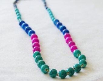 Mother's Day Gift, Mothers Day from Daughter, Color Block Statement Necklace, Blue, Aqua, Teal, Fuchsia Statement Necklace, Handmade OOAK