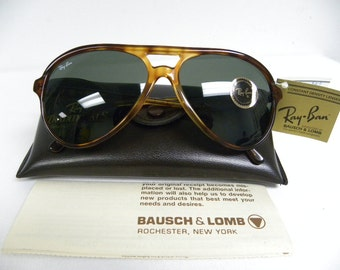New Vintage B&L Ray Ban Traditionals Style A Blond Tortoise G-15 L1670 Aviator Sunglasses USA
