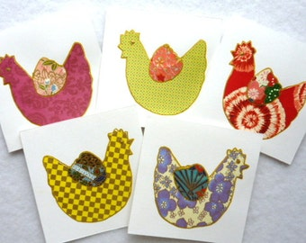 chickens cards set of 5 Blank Mini Note Cards Mini Thank You Cards