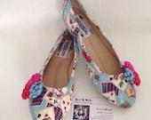 Alice shoes, alice in wonderland, blue shoes, ladies shoes, evening shoes comfy shoes, flat shoes, ballet pumps, size 3-8 uk