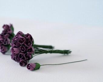 Paper flower , 50 pieces mulberry budding rose 0.8x1.5 cm., dark purple color.