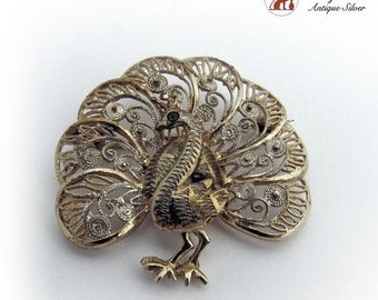 SaLe! sALe! Vintage Filigree Brooch Pin Sterling Silver Germany Vermeil