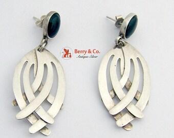 SaLe! sALe! Unusual Dangle Earrings Sterling Silver Onyx