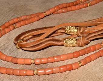 Natural Coral Beaded Necklace Leather Boho Necklace Layered Jewerly Adjustable Length Vintage Coral Remade