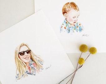 Custom Watercolor Portrait / Child portrait/ Family portrait/ Birthday gift/ Custom Art/ Mini portraits