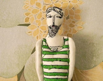 Swimmer with Green Vintage Bathing Suit,Beach Doll,Summer Decor,Doll Ornament,Art Doll,Embroidery Doll,Art Doll Ornament