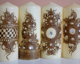 Henna Candle/ Mehndi Candle/ Henna Design/ Henna Decor Candle/ Decoration Candle/ Made to order