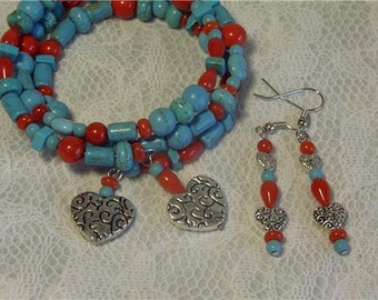 """Cynhia Lynn """"TWO HEARTS"""" Red Coral & Blue Turquoise Howlite Silver Heart Coil Bracelet and Matching Earrings"""