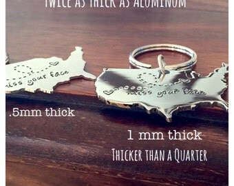 USA Keychain - Stainless Steel -Customized Best Friends Gift, Couples Gift Long Distance Relationship Gift XL Stainless Steel Miss Your Face