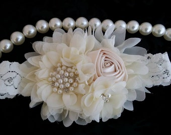 Ivory Headband/Flower Girl Headband/Baby Headband/Infant Headband/Newborn Headband/Toddler Headband/Girls Headband/Girls Headband