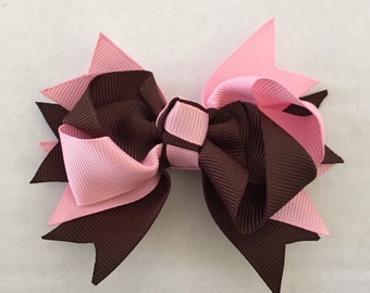 """Pink and Brown Hair Bow on Hair Clip 3 1/2"""""""