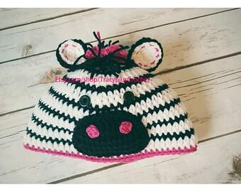 Crochet Zebra hat. Crochet Zebra beanie. Handmade to order.