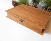 Wooden Book Box- Pine wood box for book keepsake, Jewelry keepsake , Accessory box- Unfinished book wooden case-7.5 x 9.9 inches- 25 x 19 cm