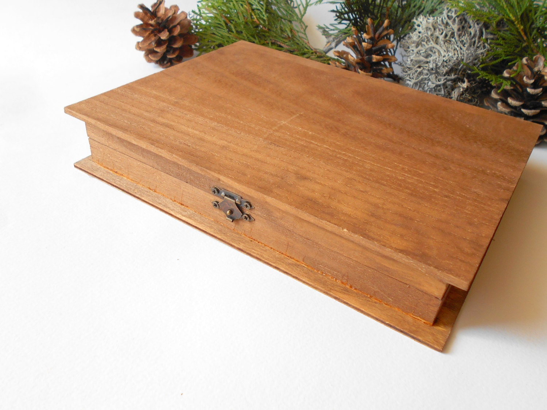 Wooden Book Box Pine Wood Box For Book Keepsake Jewelry