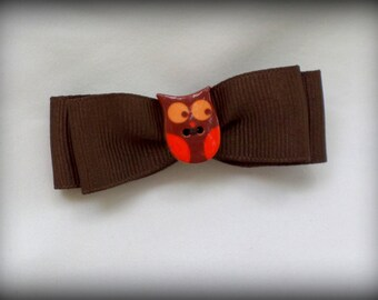 Small Brown Double Bow Ribbon Hair Barrette with Orange Owl