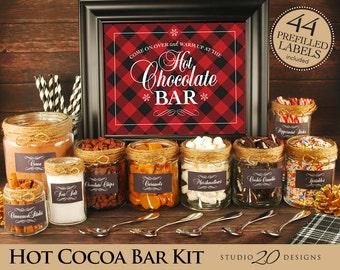 Instant Download Winter Hot Chocolate Bar Kit, Printable Rustic Black Red Plaid Hot Cocoa Bar Kit, Lumberjack Shower or Birthday Bar #20G