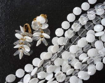 White and Translucent Beaded Necklace Set